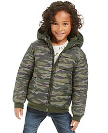 Little Boys Camo Reversible Water-Resistant Hooded Puffer Jacket, Created For Macy's