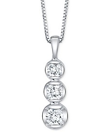 "Diamond Graduated 18"" Pendant Necklace (1 ct. t.w.) in 14k White Gold"