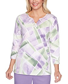 Loire Valley Studded Geo-Print Top