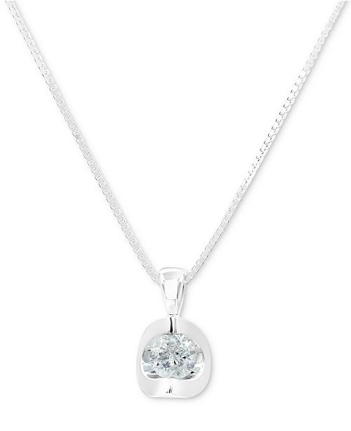 """Macy's Diamond 18"""" Pendant Necklace (1/5 ct. t.w.) in 14k White Gold or 14k Gold"""