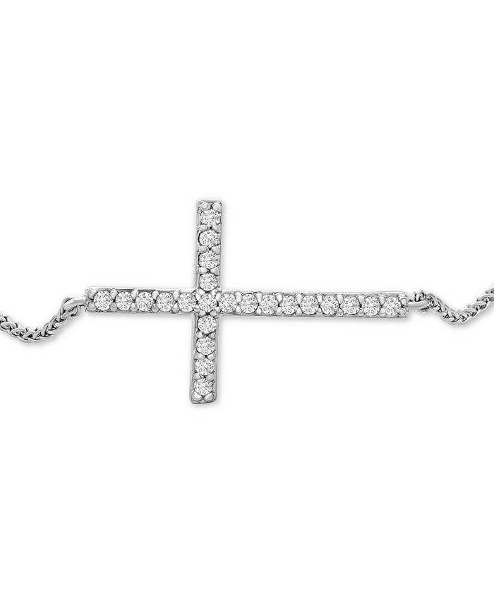 Wrapped - Diamond Sideways Cross Bolo Bracelet (1/6 ct. t.w.) in 14k White Gold