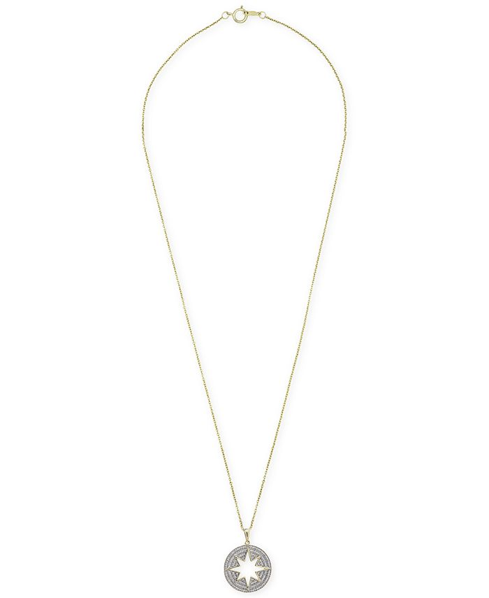 """Wrapped - Diamond Pavé Star Cut-Out Disc 20"""" Pendant Necklace (1/5 ct. t.w.) in 14k Gold"""