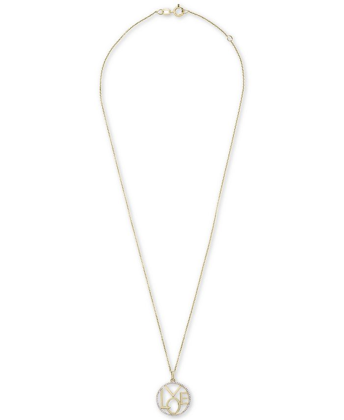 """Wrapped - Diamond Love Pendant Necklace (1/8 ct. t.w.) in 14k Gold, 20"""" + 4"""" Extender"""