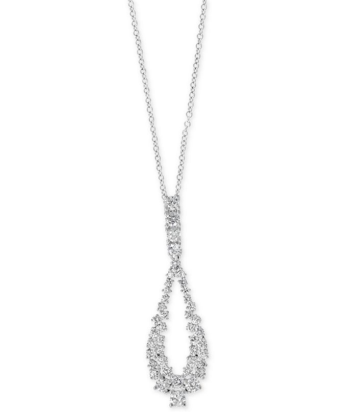 """EFFY Collection EFFY® Diamond Loop 18"""" Pendant Necklace (1-1/20 ct. t.w.) in 14k White Gold"""