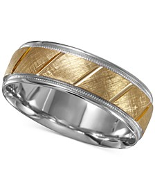 Men's Two-Tone Textured Band in 14k Gold & White Gold