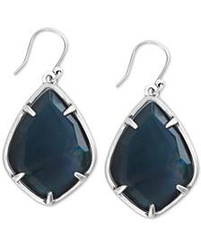 Silver-Tone Black Mother-of-Pearl Drop Earrings