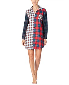 Women's Cotton Mixed Plaid Sleepshirt Nightgown