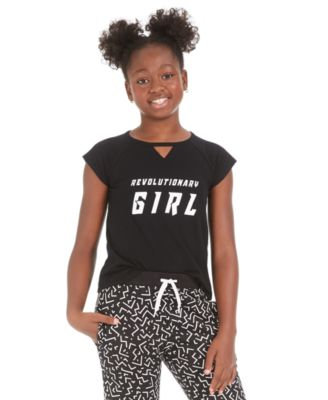 Big Girls Keyhole-Cutout Graphic-Print T-Shirt, Created for Macy's