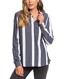 Juniors' Mess Is Mine Cotton Striped Shirt