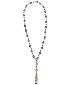 "Gold-Tone Imitation Pearl Beaded Tassel 32"" Lariat Necklace"