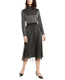 Petite Swiss-Dot Metallic Midi Skirt, Created For Macy's