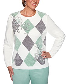 Petite Lake Geneva Diamond-Print Embroidered Sweater