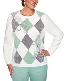 Petite Lake Geneva Diamond-Print Embroidered Sweater