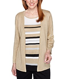 Petite Classics Metallic Layered-Look Sweater