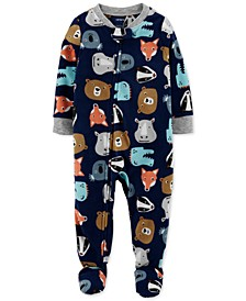 Baby Boys Zoo Fleece Footed Pajamas