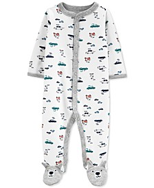 Baby Boys Cotton Printed Footed Coverall