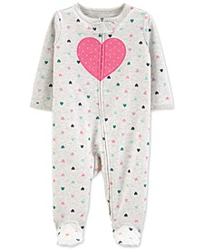 Baby Girls Cotton Heart Footed Coverall