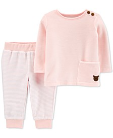 Baby Girls 2-Pc. Velour T-Shirt & Striped Pants Set