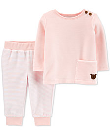 Carter's Baby Girls 2-Pc. Velour T-Shirt & Striped Pants Set