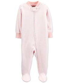 Baby Girls Striped Velour Footed Coverall