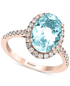EFFY® Aquamarine (3 ct. t.w.) & Diamond (3/8 ct. t.w.) Oval Halo Ring in 14k Rose Gold