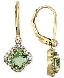 EFFY® Green Quartz (1-5/8 ct. t.w.) & Diamond (1/4 ct. t.w.) Drop Earrings in 14k Gold