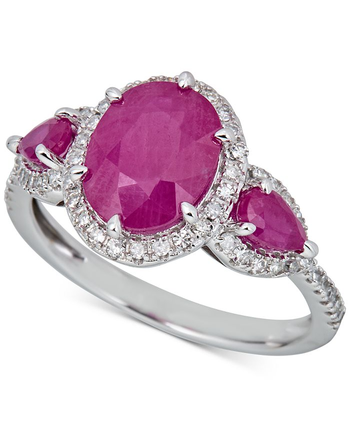 Macy's - Certified Ruby (2-1/2 ct. t.w.) & Diamond (1/4 ct. t.w.) Statement Ring in 14k White Gold (Also available in Sapphire)