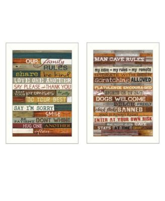 """Family and Man Cave Rules Collection By Marla Rae, Printed Wall Art, Ready to hang, White Frame, 10"""" x 14"""""""