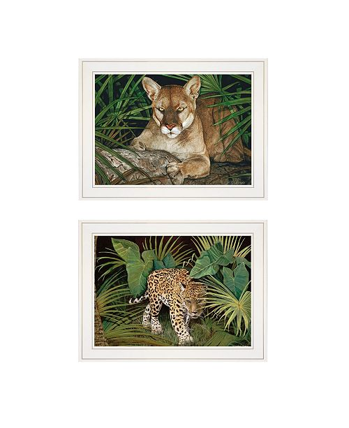 "Trendy Decor 4U Trendy Decor 4U Big Cats 2-Piece Vignette by Jacquee Krause, White Frame, 19"" x 15"""
