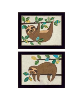 Cute Sloths 2-Piece Vignette by Bernadette Deming, Black Frame, 18