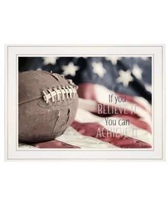 """Football - Believe It by Lori Deiter, Ready to hang Framed Print, White Frame, 21"""" x 15"""""""