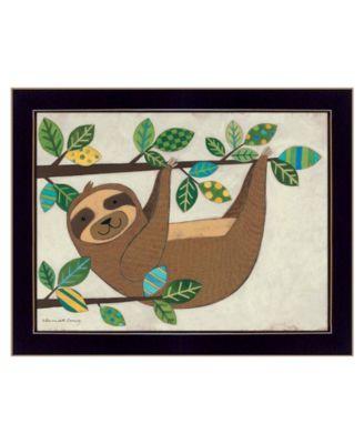 "Hanging Sloth I by Bernadette Deming, Ready to hang Framed Print, Black Frame, 18"" x 14"""