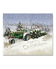 """Lighted Canvas Christmas Tree Tractor, 16"""" x 20"""""""