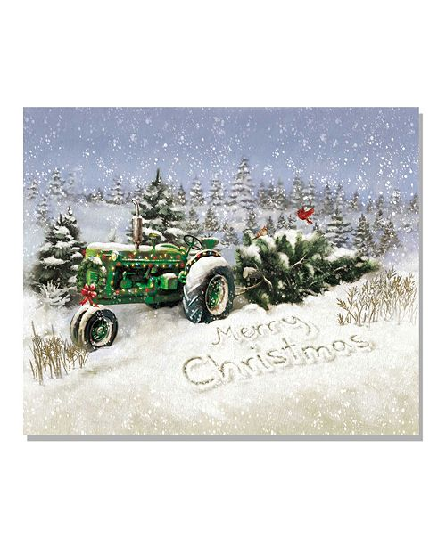 "Trendy Decor 4U Trendy Decor 4U Lighted Canvas Christmas Tree Tractor, 16"" x 20"""