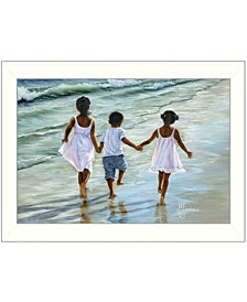 "Running on the Beach By Georgia Janisse, Printed Wall Art, Ready to hang, White Frame, 14"" x 10"""