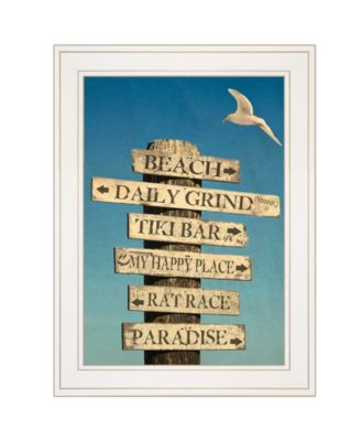 """Beach Directional by Graffitee Studios, Ready to hang Framed Print, White Frame, 15"""" x 19"""""""