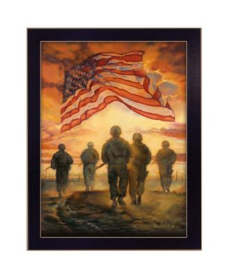 Bless Americas Heroes By Bonnie Mohr, Printed Wall Art, Ready to hang, Black Frame, 14