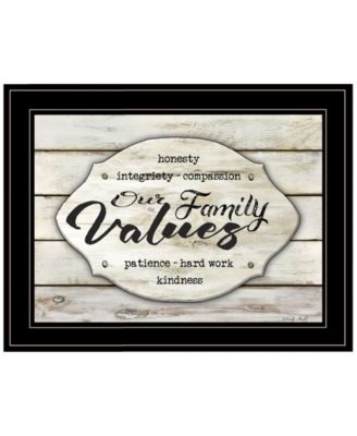 """Our Family Values by Cindy Jacobs, Ready to hang Framed Print, Black Frame, 19"""" x 15"""""""