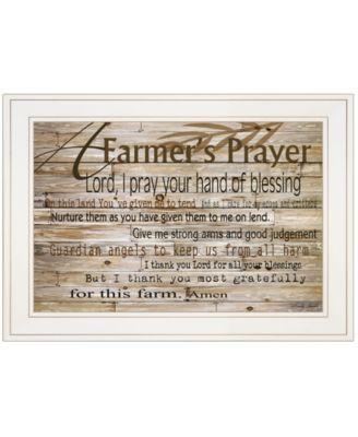 """A Farmer's Prayer by Cindy Jacobs, Ready to hang Framed Print, White Frame, 21"""" x 15"""""""