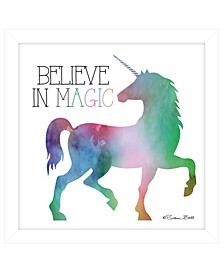 "Trendy Decor 4U Believe in Magic Unicorn by SUSAn Ball, Ready to hang Framed print, White Frame, 15"" x 15"""