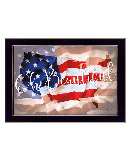 "Trendy Decor 4U Trendy Decor 4U Oh Beautiful America By Lauren Rader, Printed Wall Art, Ready to hang, Black Frame, 21"" x 15"""