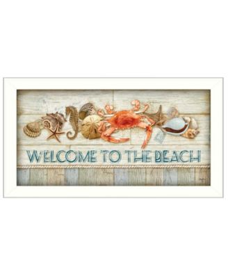 """Welcome to the Beach By Mollie B., Printed Wall Art, Ready to hang, White Frame, 11"""" x 20"""""""