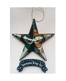 "Snowmen Bring Joy - Star Ornament 6-pack by Trendy Décor 4U, Ready to hang, 5"" x 6"""