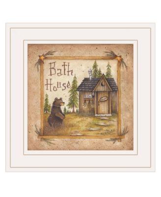 "Bath House by Mary Ann June, Ready to hang Framed Print, White Frame, 13"" x 13"""