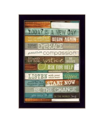 """Today is a New Day By Marla Rae, Printed Wall Art, Ready to hang, Black Frame, 14"""" x 10"""""""