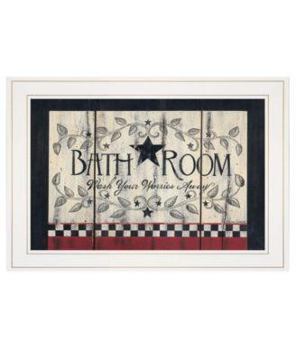 "Bathroom by Linda Spivey, Ready to hang Framed print, White Frame, 19"" x 15"""