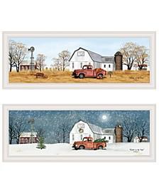 """Billy Jacobs Seasonal-Autumn/Winter 2-Piece Vignette, White Frame, 39"""" x 15"""""""