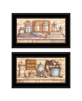 """My Happy Place 2-Piece Vignette by Mary June, Black Frame, 21"""" x 12"""""""