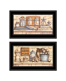 "Trendy Decor 4U My Happy Place 2-Piece Vignette by Mary June, Black Frame, 21"" x 12"""