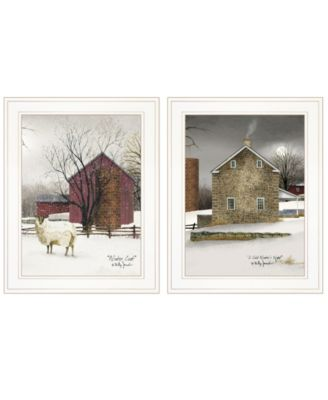 """Cold Winter 2-Piece Vignette by Billy Jacobs, White Frame, 15"""" x 19"""""""